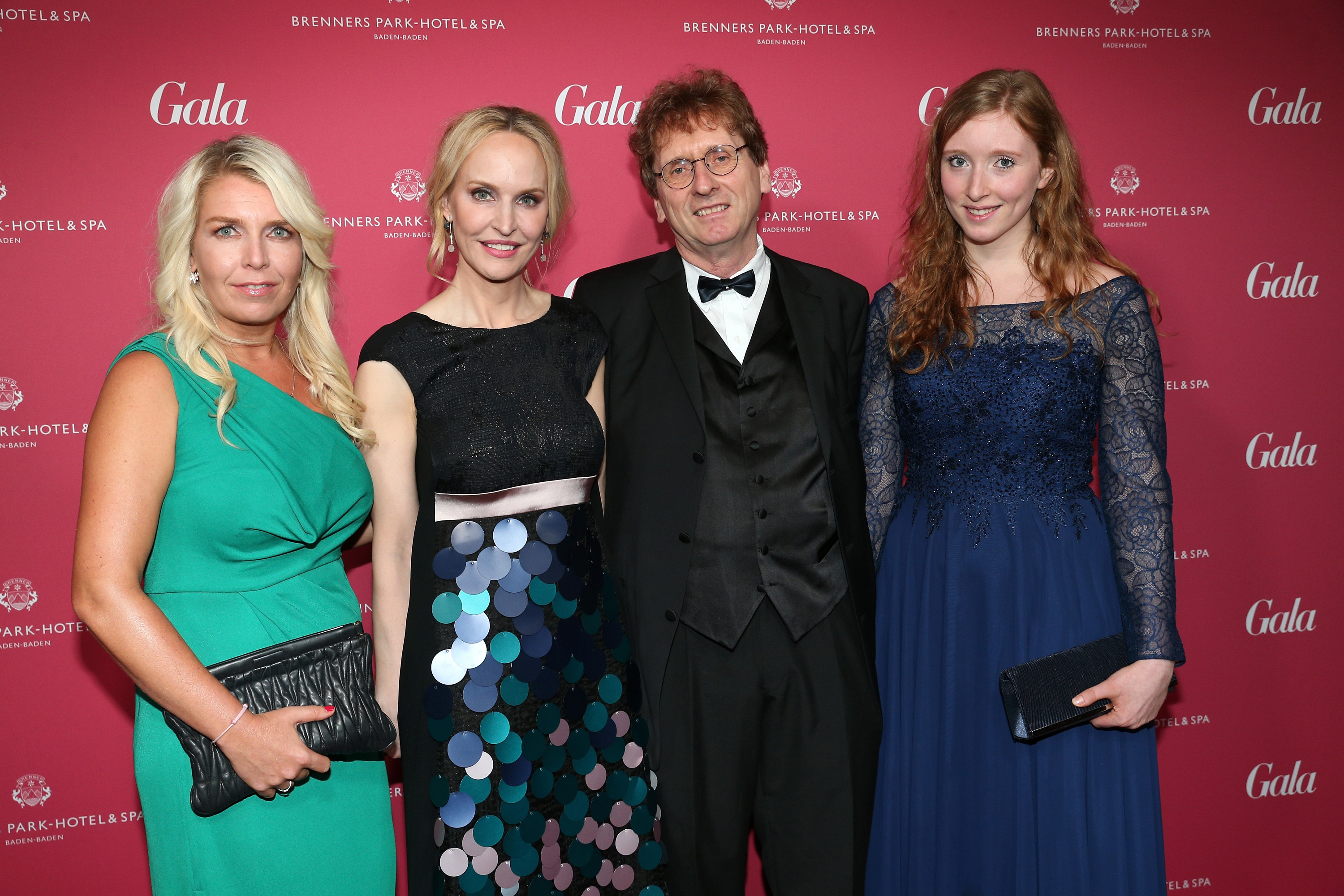 BADEN-BADEN, BADEN-WUERTTEMBERG - APRIL 02: Astrid Bleeker, Anne Meyer-Minneman, Editor in chief of GALA, Michael Braungart and his daughter during the Gala Spa Awards on April 2, 2016 in Baden-Baden, Germany. (Photo by Gisela Schober/Getty Images for GALA)