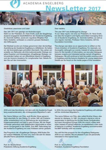 Academia Engelberg | Newsletter 2017